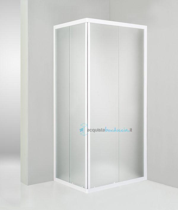 Piatto Doccia Angolare 80x90.Box Doccia Angolare Porta Scorrevole 80x90 Cm Opaco Bianco