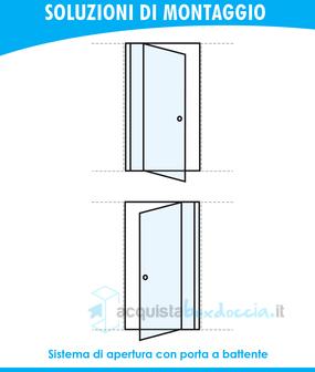 Porta doccia battente 85 cm opaco - Montaggio porta battente ...