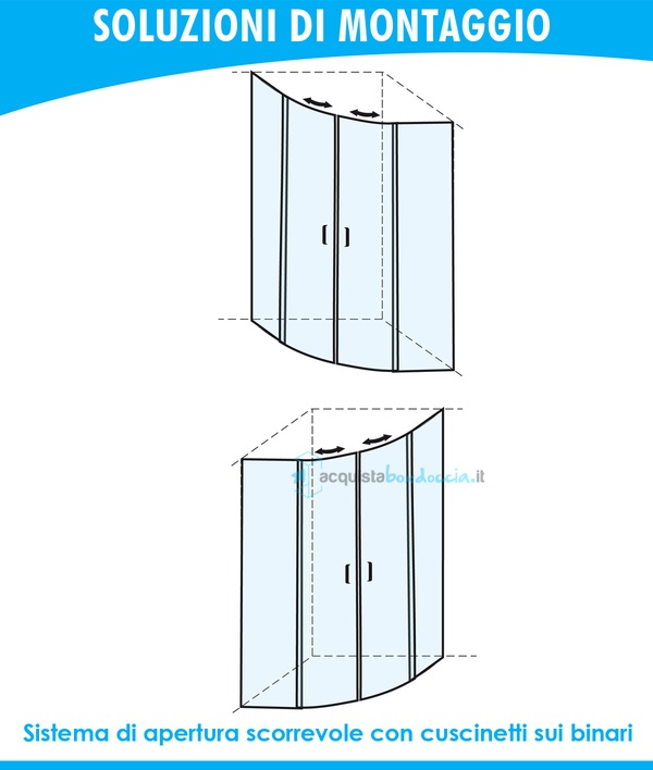 Istruzioni Montaggio Cabina Doccia.Vendita Box Doccia Semicircolare 80x80 Cm Trasparente