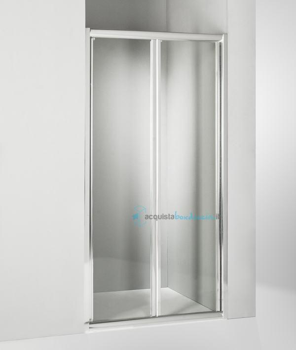 Vendita porta doccia soffietto 110 cm trasparente - Porta a soffietto per doccia ...