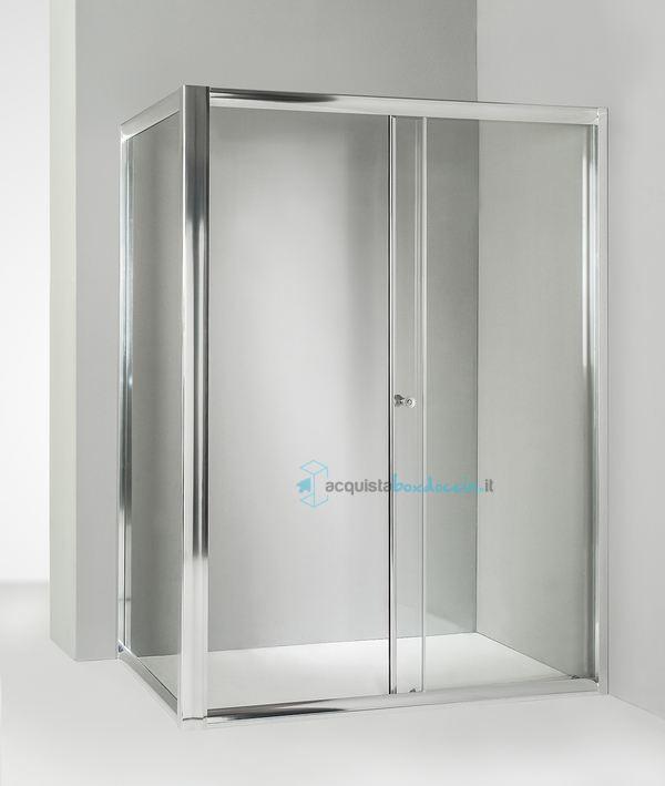 Box Doccia 80x140.Box Doccia Angolare Anta Fissa Porta Scorrevole 80x140 Cm Trasparente