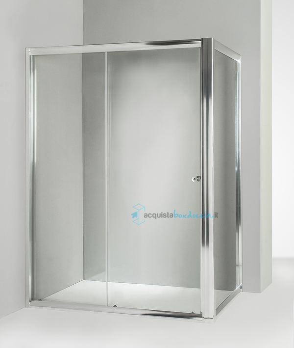Box doccia angolare anta fissa porta scorrevole 80x140 cm trasparente