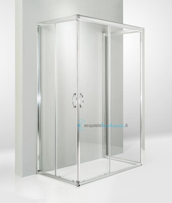 Vendita box doccia 3 lati porta scorrevole 70x110x70 cm trasparente ...