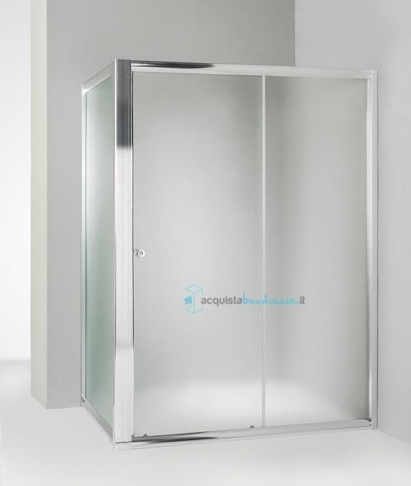 Box Doccia 80x100 Scorrevole.Vendita Box Doccia Angolare Anta Fissa Porta Scorrevole 80x100 Cm